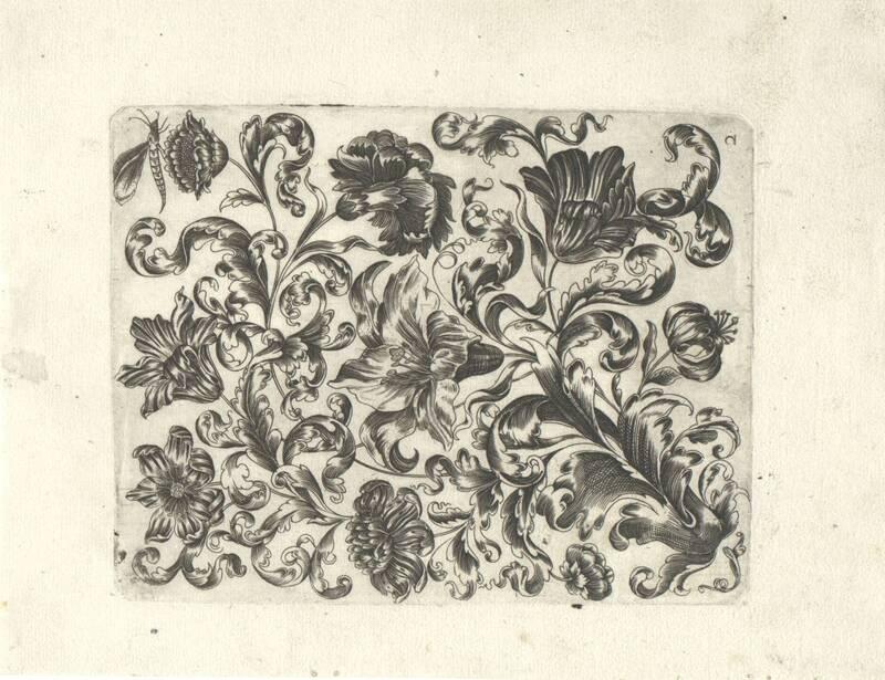 Stilisierte Blumen-Füllung mit Insekten, Blatt aus einer Folge von Füllungen für Goldschmiede von Thünckel, Johannes