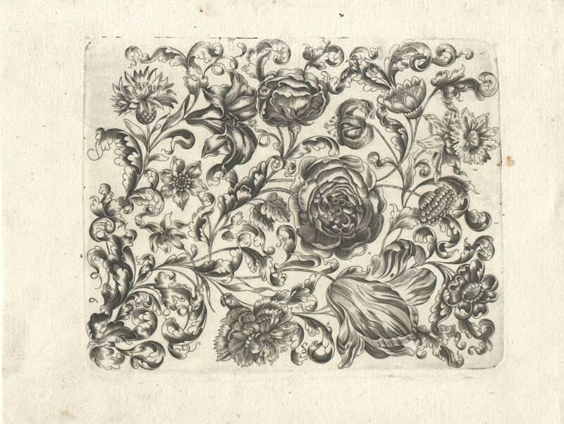 6 Blatt stilisierte Blumen-Füllungen für Goldschmiede. 1661 von Thünckel, Johannes
