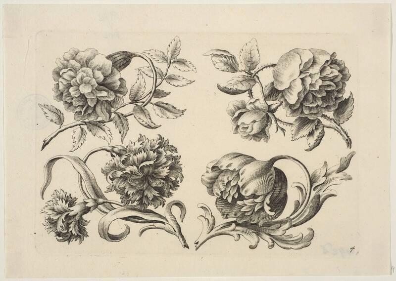 Verschiedene Blumen, Blatt 4 aus der Folge von Blumendarstellungen, herausgegeben von J. C. Schmidhammer, Verlagsnummer 100 von Preißler, Georg Martin