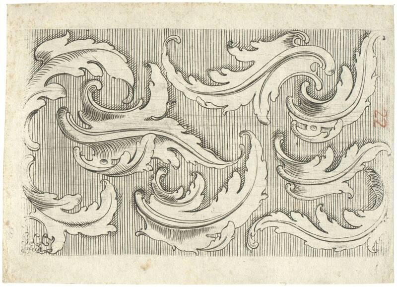 Rocailleförmige Akanthusblätter als Einzelmotive auf schraffiertem Grund von Monogrammist I L L