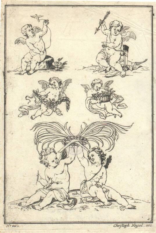 Blatt 1 aus einer Folge von Putti und Kindern, herausgegeben von Christoph Weigel, Verlagsnummer 411 von Weigel, Johann Christoph