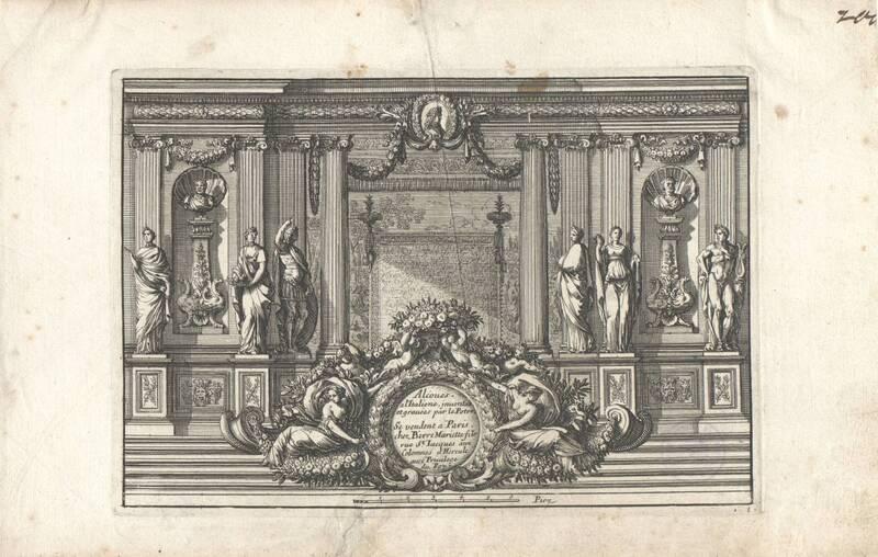 """Ein Schlafgemach, Bettnische, Blatt 1 mit Titel aus der Folge """"Alcoues a l' Italiene"""", herausgegeben von P. Mariette von Lepautre, Jean"""