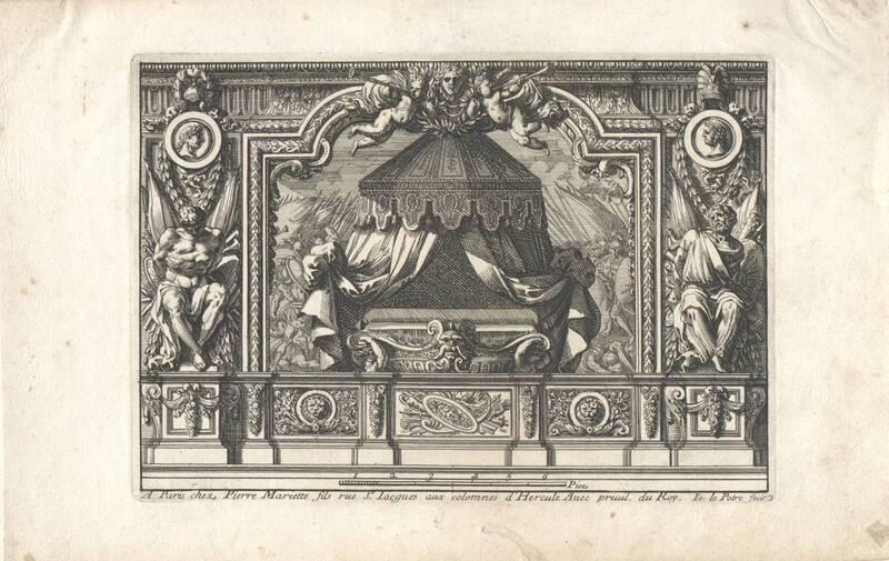 """Ein Schlafgemach, Bettnische, Blatt 2 aus der Folge """"Alcoues a l' Italiene"""", herausgegeben von P. Mariette von Lepautre, Jean"""