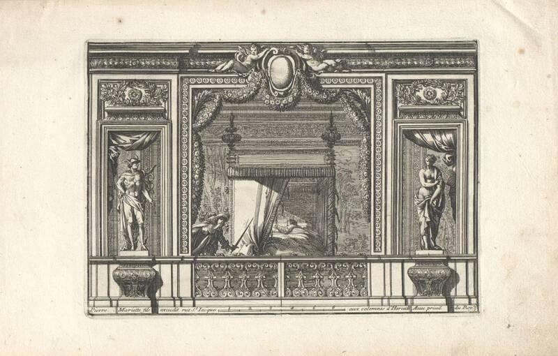 """Ein Schlafgemach, Bettnische, Blatt 3 aus der Folge """"Alcoues a l' Italiene"""", herausgegeben von P. Mariette von Lepautre, Jean"""