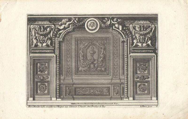 """Ein Schlafgemach, Bettnische, Blatt 4 aus der Folge """"Alcoues a l' Italiene"""", herausgegeben von P. Mariette von Lepautre, Jean"""
