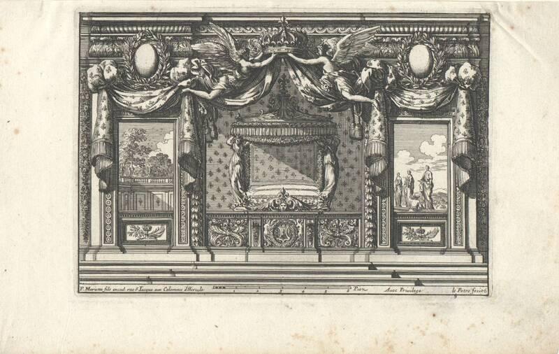 """Ein Schlafgemach, Bettnische, Blatt 6 aus der Folge """"Alcoues a l' Italiene"""", herausgegeben von P. Mariette von Lepautre, Jean"""