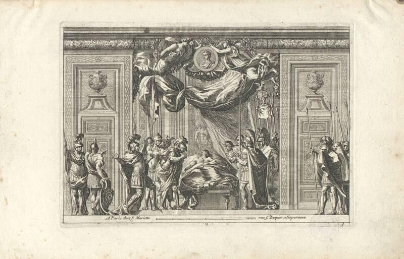 """Schlafgemach, Bettnische, Blatt 3, bzw. 5 aus der Folge """"Alcoves a la Romaine"""" mit doppelten Nummern, herausgegeben von P. Mariette von Lepautre, Jean"""