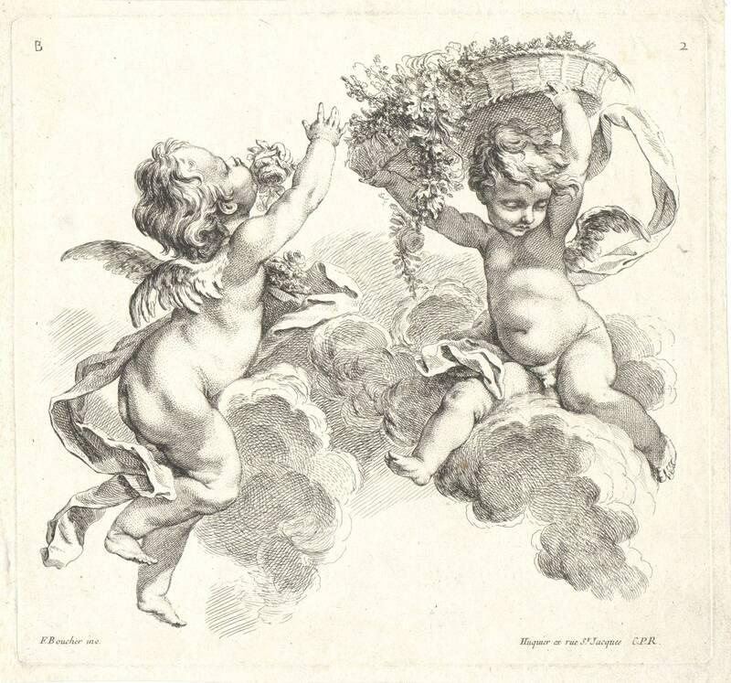 """Zwei Putti in den Wolken, einer mit einem Blumenkorb, Blatt 2 aus der Folge """"Second Livre de Groupes d' Enfans"""", herausgegeben von Huquier von Boucher, Francois"""