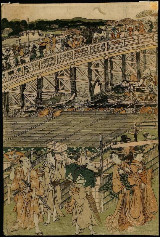 Abendkühle an der Ryōgoku-Brücke in Edo, Folge von fünf Blättern (Edo Ryōgoku suzumi no zu, gomai tsuzuki 江戸両國すゞみの圖 五枚つゞき) von Anonym