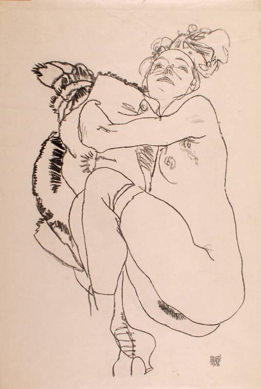 Liegender weiblicher Akt, den Blick nach oben gerichtet von Schiele, Egon