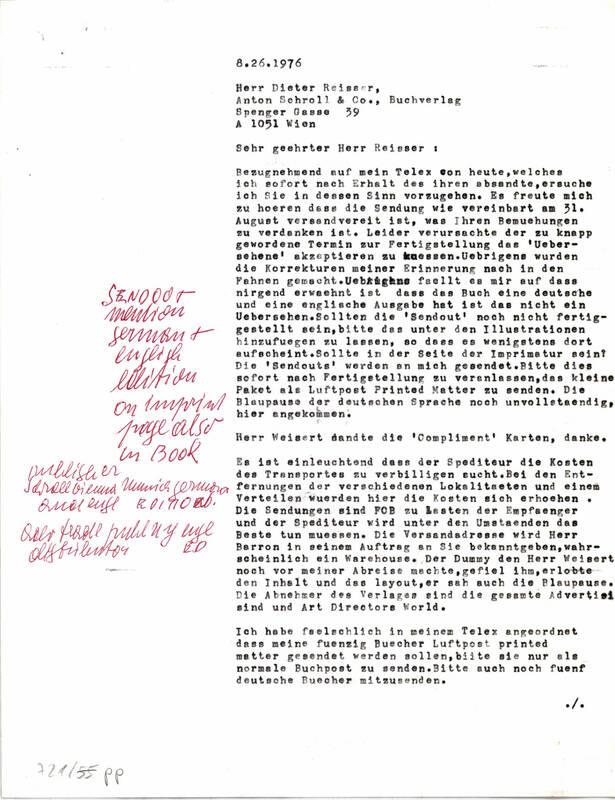 """Brief an den Verlag """"Anton Schroll & Co."""" von Binder, Carla"""