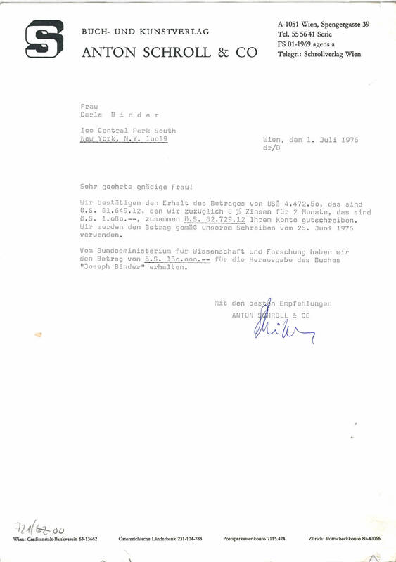 """Brief vom Verlag """"Anton Schroll & Co."""" von Reisser, Dieter"""