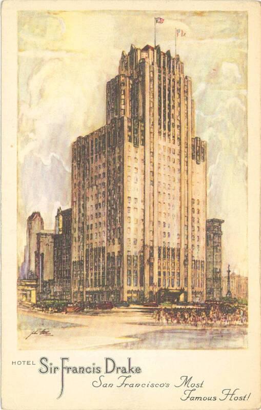 """Karte mit einer Ansicht des """"Sir Francis Drake-Hotels"""" von Anonym"""