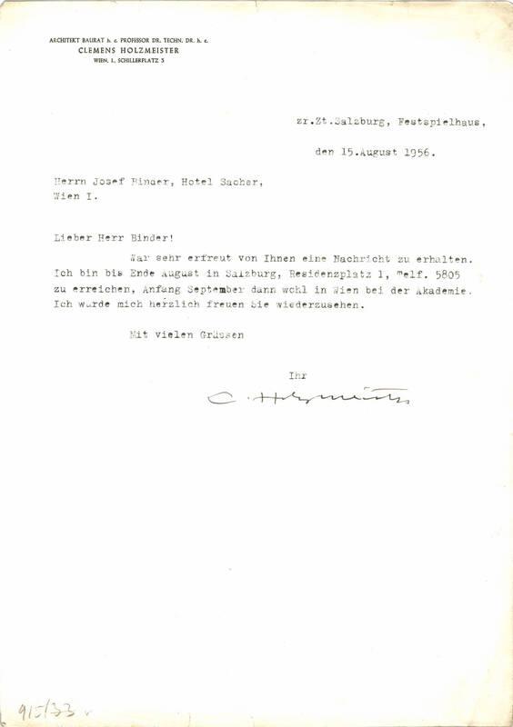 Brief von Prof. Clemens Holzmeister von Holzmeister, Clemens