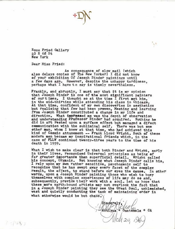 Brief von D.J. Nichols von Nichols, D.J.