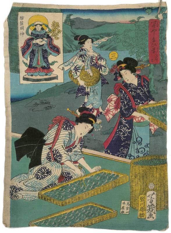 Nummer 3: Das Füttern der Seidenraupen (san, Kyūji 三 給餌) von Tatekawa Horihatsu 竪川彫初