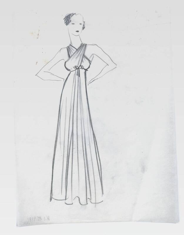 Skizze eines Abendkleides von Deutsch-Dryden, Ernst