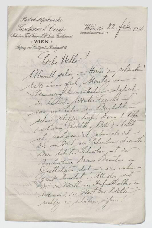 Brief von Ferdinand Krasa an seine Tochter Hello von Krasa, Ferdinand
