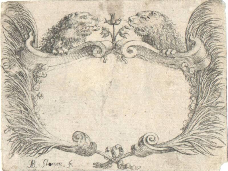 Kartusche mit zwei Löwenköpfen von Flamen, Albert