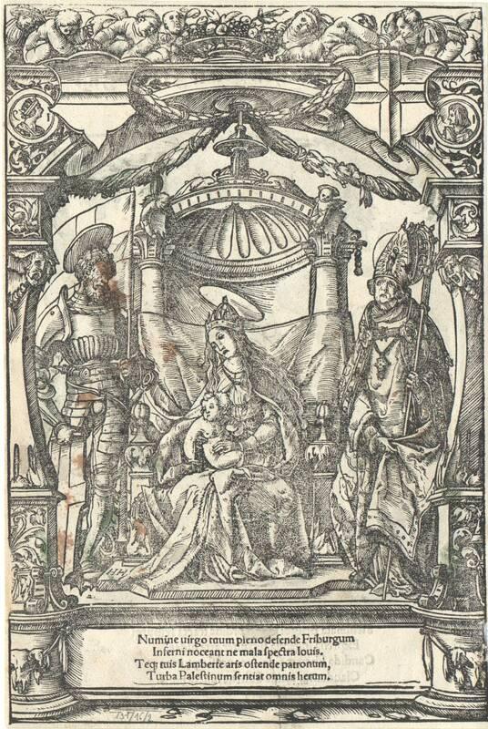 """Titelblatt zu """"Nüwe Stattrechten und Statuten der loblichen Statt Fryburg im Bryssgow gelegen"""", koloriert, auf der Rückseite Maria mit Heiligen von Hans Holbein (?) von Holbein, Hans"""