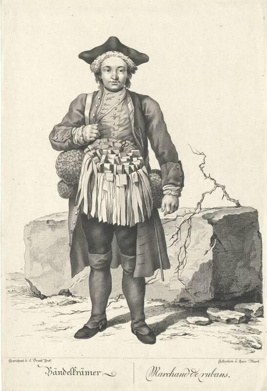 """""""Bändelkrämer"""", Blatt aus der Folge """"Zeichnungen nach dem gemeinen Volke besonders Der Kaufruf in Wien. etc."""" von Brand, Johann Christian"""