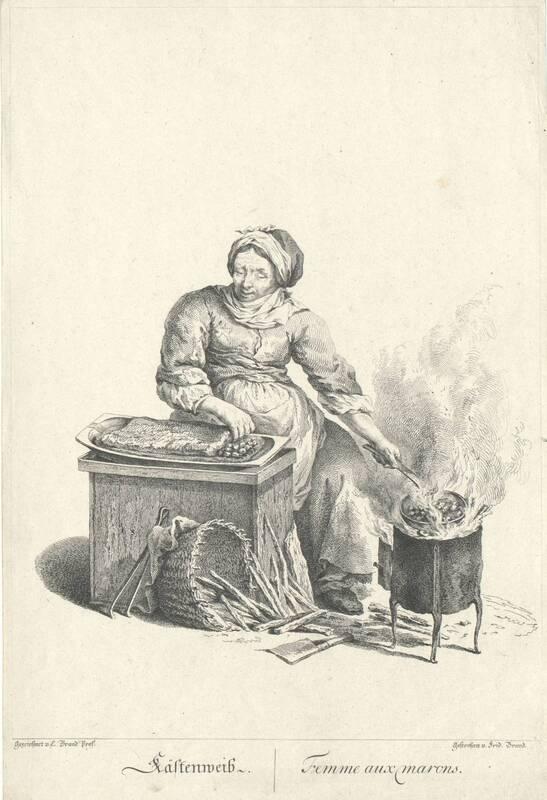 """""""Kästenweib"""", Blatt aus der Folge """"Zeichnungen nach dem gemeinen Volke besonders Der Kaufruf in Wien. etc."""" von Brand, Johann Christian"""