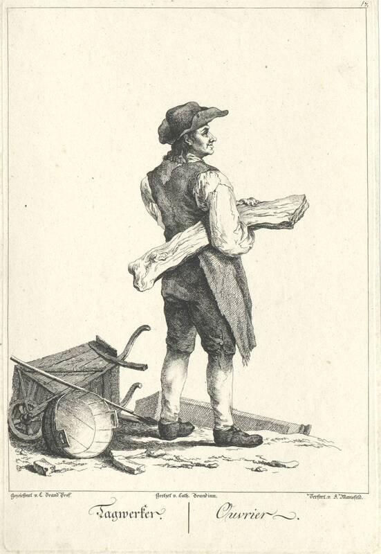 """""""Tagwerker."""", Blatt aus der Folge """"Zeichnungen nach dem gemeinen Volke besonders Der Kaufruf in Wien. etc."""" von Brand, Johann Christian"""