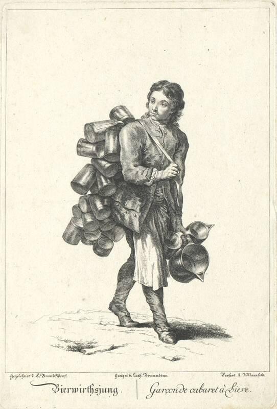 """""""Bierwirthsjung."""", Blatt aus der Folge """"Zeichnungen nach dem gemeinen Volke besonders Der Kaufruf in Wien. etc."""" von Brand, Johann Christian"""