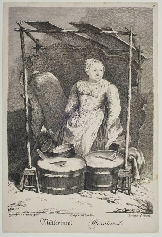 """""""Müllerinn"""", Blatt aus der Folge """"Zeichnungen nach dem gemeinen Volke besonders Der Kaufruf in Wien. etc."""" von Brand, Johann Christian"""