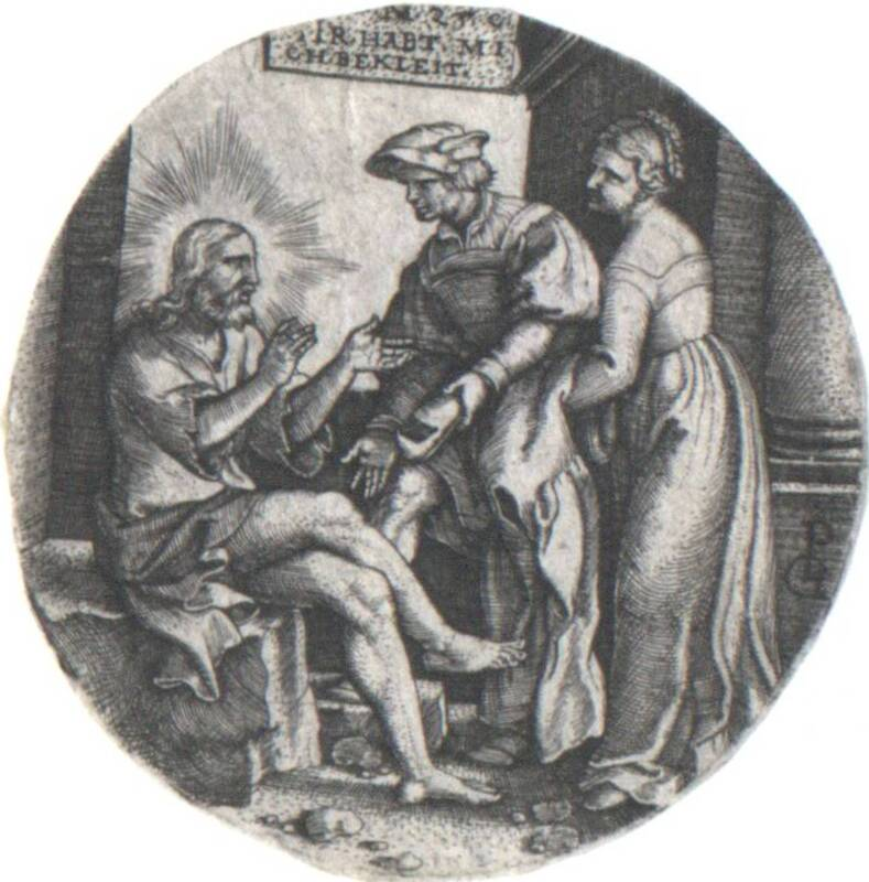 """Die Nackten kleiden, Blatt aus der Folge """"Septem Opera Miseicordiae"""" (Die sieben Werke der Barmherzigkeit) von Pencz, Georg"""