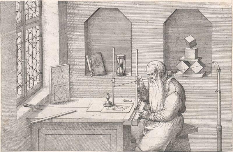 Wenzel Jamnitzer an einem Tisch sitzend mit einem Visierinstrument beschäftigt (Jamnitzers Perspektivmaschine) von Amman, Jost