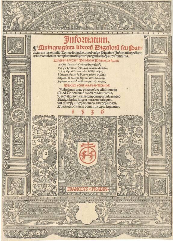 Titeleinfassungen aus einem Lyoner Druckwerk von 1536, herausgegeben von Francois Fradin von Fradin, François