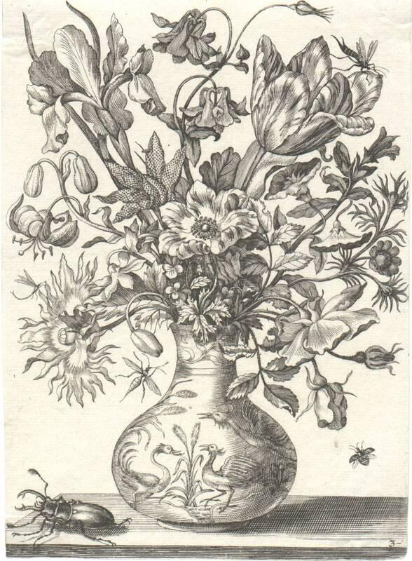 Blumen in einer Vase, links unten ein Hirschkäfer, Blatt 3 aus einer Folge von Blumendarstellungen (evtl. aus dem Neuen Blumenbuch) von Merian, Maria Sibylla