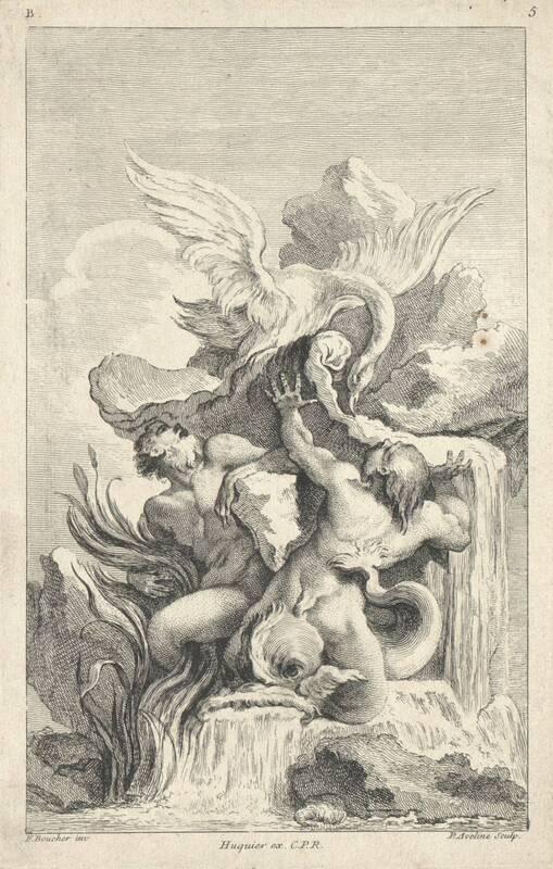 """Ein Brunnen, Blatt 5 aus der Folge B """"Second Livre des Fontaines inventées par F. Boucher etc."""", herausgegeben von Huquier von Boucher, Francois"""