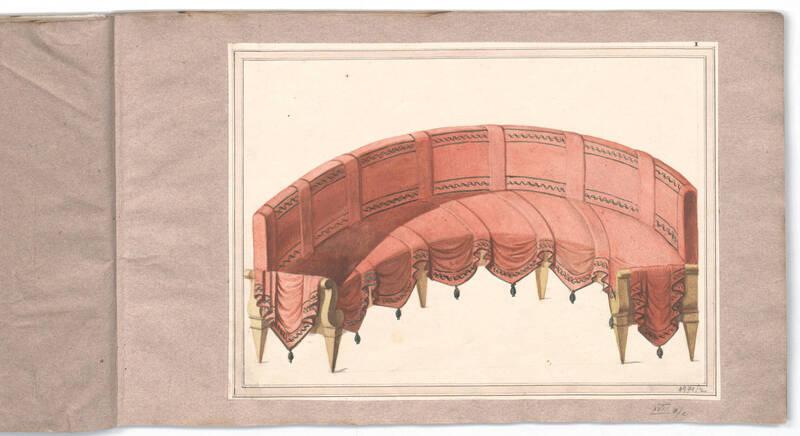 Entwurf für einen Divan, halbrund, mit Draperie von Danhauser, Joseph Ulrich