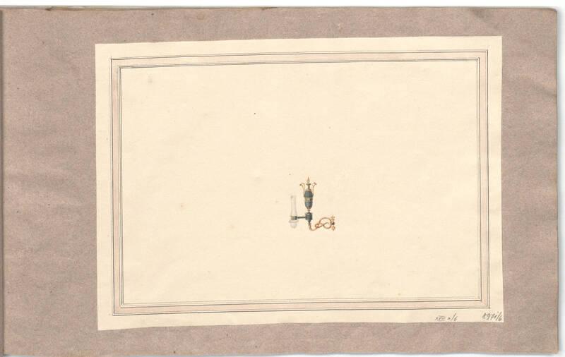 Entwurf für eine Wandleuchte / Öllampe von Danhauser, Joseph Ulrich